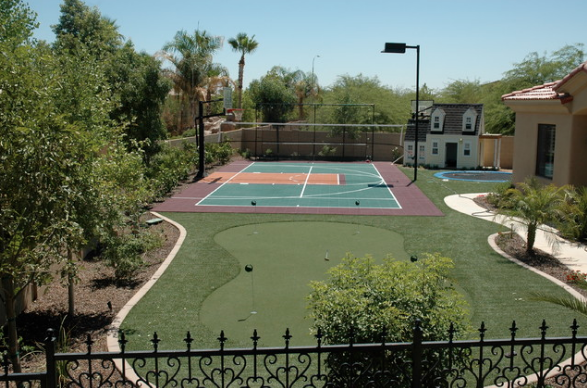 backyard sport court with synthetic grass