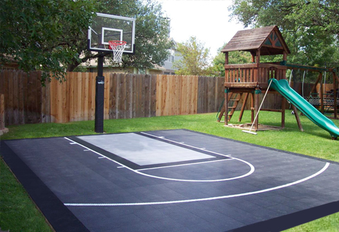 Backyard renovations sport courts 360 sports syngrass for How to build basketball court